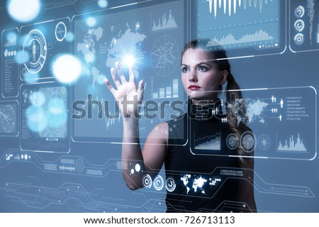 Futuristic user interface concept. Graphical User Interface(GUI). Head up Display(HUD). Internet of things. Royalty-Free Stock Photo #726713113