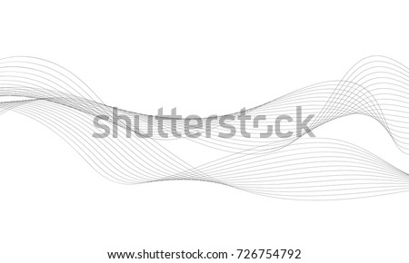 Abstract wave element for design. Digital frequency track equalizer. Stylized line art background. Vector illustration. Wave with lines created using blend tool. Curved wavy line, smooth stripe. Royalty-Free Stock Photo #726754792