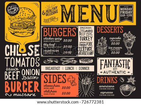 Burger food menu for restaurant and cafe. Design template with hand-drawn graphic illustrations. Royalty-Free Stock Photo #726772381
