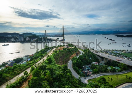 Bai Chay bridge in Ha Long city, Quang Ninh province, Vietnam Royalty-Free Stock Photo #726807025