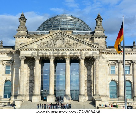 BERLIN GERMANY 09 24 17: The Reichstag officially Deutscher Bundestag  Plenarbereich Reichstagsgebaude is a historic edifice in Berlin constructed to house the Imperial Diet of the German Empire. #726808468