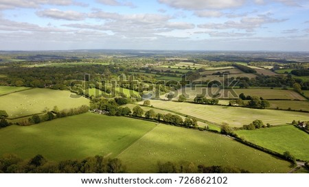 Aerial photo over countryside in rural West Berkshire, England, UK Royalty-Free Stock Photo #726862102