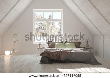 Idea of white minimalist bedroom. Scandinavian interior design. 3D illustration #727119055