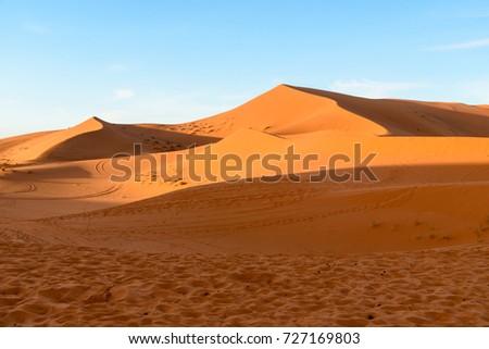 Erg Chebbi Sand dunes in Sahara Desert near Merzouga, Morocco #727169803
