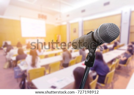 Microphone over the blurred business people forum Meeting Conference Training Learning Coaching Concept, Blurred background #727198912