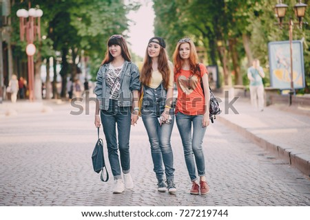 youn girl walking in the park make selfie have fun #727219744