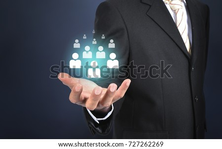 Customer care, care for employees, human resources, employment agency and marketing segmentation concepts. Leader manage his team. Central composition. #727262269