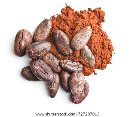 Tasty cocoa powder and beans isolated on white background. #727287013