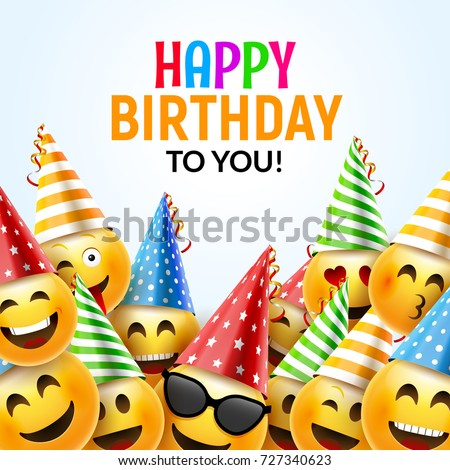 Birthday happy smile greeting card. Vector birthday background 3d colorful character design