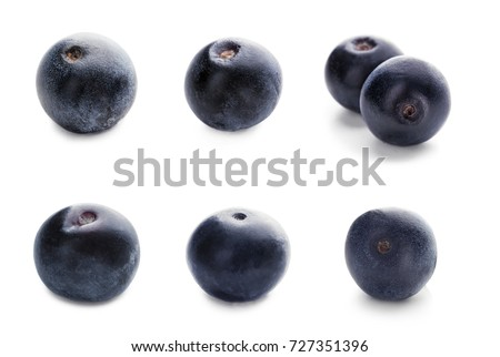 Collage of acai berries on white background #727351396