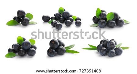 Collage of acai berries on white background #727351408
