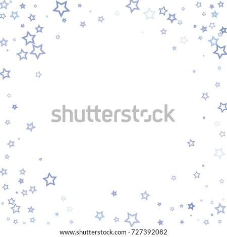 Scattered corner frame on white background made of little blue stars. Scatter frame made of blue falling confetti stars. Vector illustration. #727392082