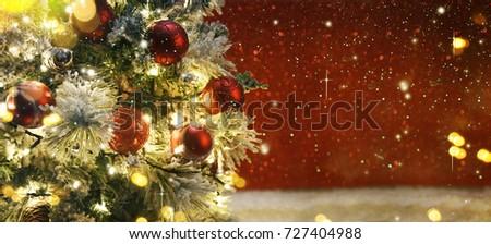 Christmas tree with decoration and lighting #727404988