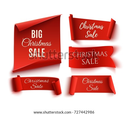 Set of five red, Christmas Sale, realistic, paper banners. Vector illustration. #727442986