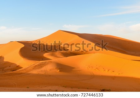 Erg Chebbi Sand dunes in Sahara Desert near Merzouga, Morocco #727446133