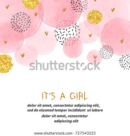 Baby Shower girl card design with abstract watercolor pink and glittering golden circles. Royalty-Free Stock Photo #727543225