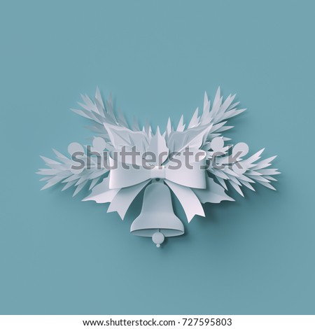 3d render, Christmas background, white paper bell, fir tree holiday decoration, festive elements, greeting card