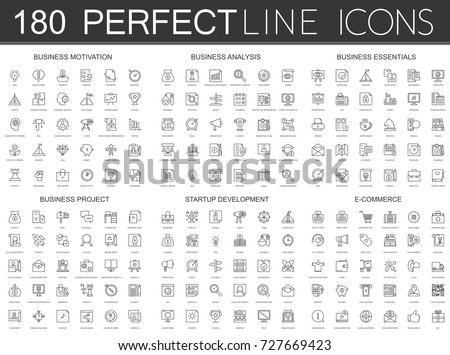 180 modern thin line icons set of business motivation, analysis, business essentials, business project, startup development, e commerce. Royalty-Free Stock Photo #727669423