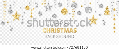 Sparkling Christmas glitter ornaments isolated on transparent background. Gold and silver fiesta border. Garland with hanging balls and ribbons. Great for New year party posters, website headers. Royalty-Free Stock Photo #727681150