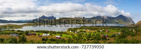 Amazing landscape near the Torvdalsveien city, Bostad, Lofoten, Norway. Panorama picture.