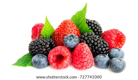 Close-up arrangement mixed, assorted berries including blackberries, strawberry, blueberry, raspberries and fresh leaf isolated on white. Colorful, healthy concept. Black, blue, red, green. Panorama Royalty-Free Stock Photo #727741000