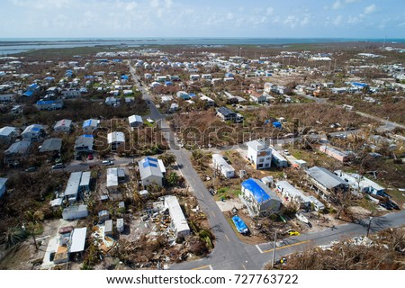 Aerial image of homes destroyed in the Florida Keys after Hurricane Irma