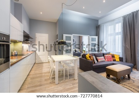Contemporary apartment with dining table, open kitchen and living room Royalty-Free Stock Photo #727770814