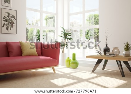 Idea of white room with sofa and summer landscape in window. Scandinavian interior design. 3D illustration #727798471