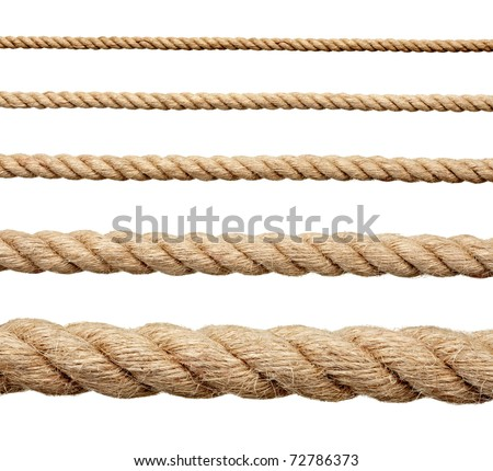 collection of various ropes on white background. each one is shot separately Royalty-Free Stock Photo #72786373