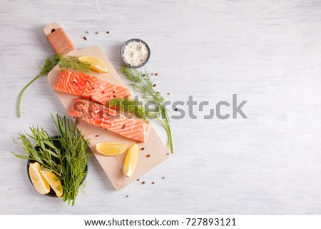 Fresh organic salmon ready for cooking #727893121