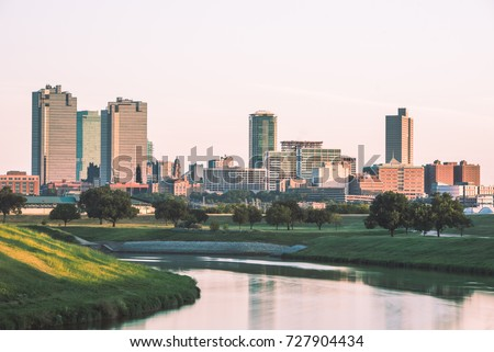 Fort Worth Skyline with Trinity River #727904434