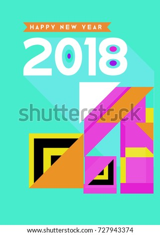 Happy New Year 2018 colorful abstract design, vector elements for calendar and greeting card. #727943374