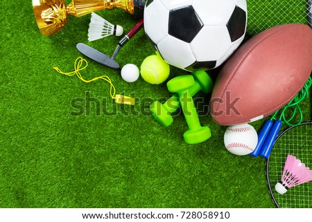 Various sport tools on grass #728058910