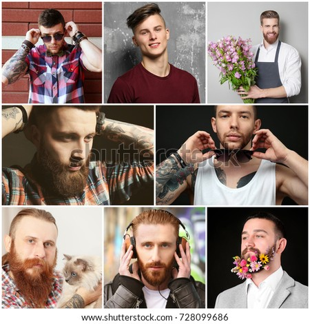 Collage with stylish young men #728099686