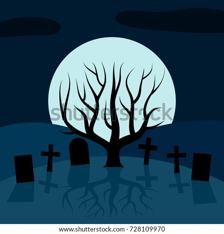 A lonely tree in the cemetery at night in front of the Moon. Vector background for Halloween #728109970