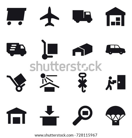 16 vector icon set : delivery, plane, truck, warehouse, cargo stoller #728115967