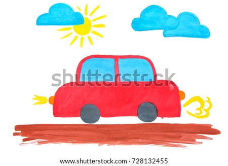 Child's painting of car on white sheet