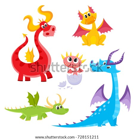 Set of funny dragon character, newborn baby, young and adult, cartoon vector illustration isolated on white background. Cute and funny, childish cartoon style dragon characters, small and adult