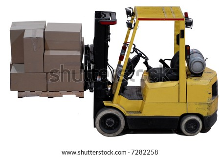 industrial forklift with a load of warehouse boxes #7282258