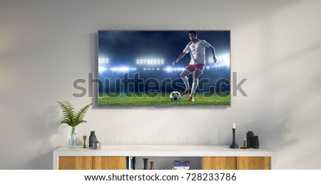 3D illustration of a living room led tv on white wall showing soccer game moment . #728233786