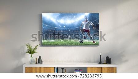 3D illustration of a living room led tv on white wall showing soccer game moment . #728233795