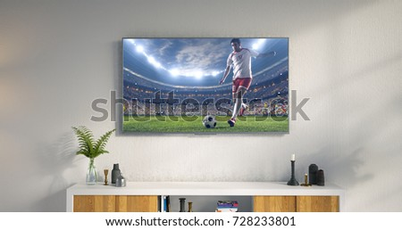 3D illustration of a living room led tv on white wall showing soccer game moment . #728233801