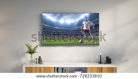 3D illustration of a living room led tv on white wall showing soccer game moment . #728233810