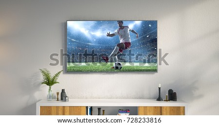 3D illustration of a living room led tv on white wall showing soccer game moment . #728233816