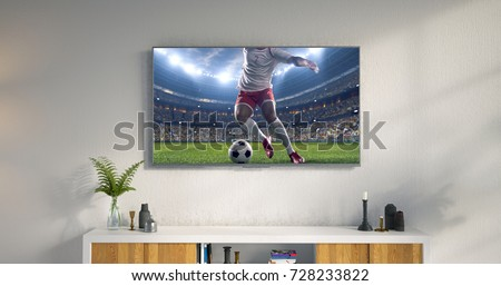 3D illustration of a living room led tv on white wall showing soccer game moment . #728233822