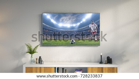 3D illustration of a living room led tv on white wall showing soccer game moment . #728233837