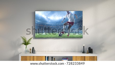 3D illustration of a living room led tv on white wall showing soccer game moment . #728233849