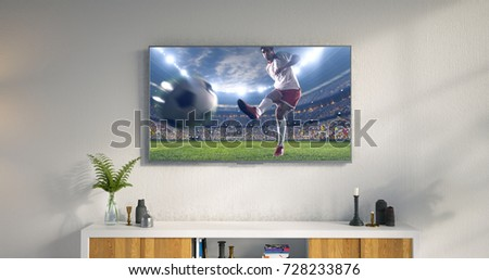 3D illustration of a living room led tv on white wall showing soccer game moment . #728233876