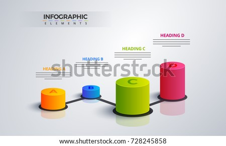 3D infographic element, or graph with four (4) steps .