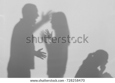 Silhouettes of quarreling parents and little child on white background. Domestic violence concept Royalty-Free Stock Photo #728258470
